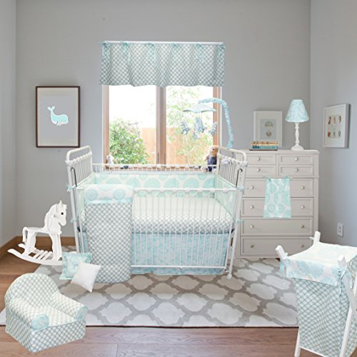 Cotton Tale Designs 100% Cotton Floral Daisy Garden Lattice Flower Paisley Minky Sweet & Simple Aqua Blue 4 Piece Nursery Crib Bedding Set - Baby Shower Gift Girl & Boy Unisex Gender Neutral