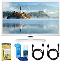 LG 24LJ4540-WU 24-Inch HD LED TV - White (2017 Model) w/ Accessories Bundle Includes, SurgePro 6-Outlet Surge Adapter with Night Light, 2x 6ft. HDMI Cable & Screen Cleaner For LED TVs
