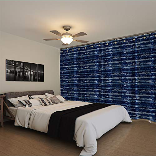 RoomDividersNow Premium Heavyweight Room Divider Curtain, 9ft Tall x 15ft Wide (Blue Stripe)