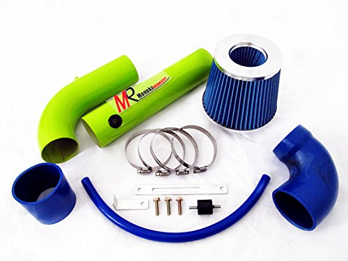 97 98 99 00 01 02 03 Chevrolet S-10 Pickup Base/LS/LS Xtreme 2.2L GREEN Piping Cold Air Intake System Kit with Blue Filter