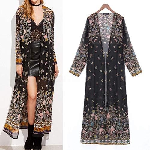 Floreali Vintage Chiffon Tunica Lunga Bello Donna Outwear Schwarz S Casuali Prospettiva Estivi Size Cappotto Moda Cardigan Elegante Mode Di marca Moda Kimono di Color Manica FFfWHqnTw
