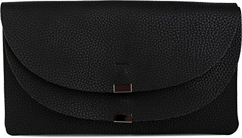 styleBREAKER bolso de mano clutch en estilo sobre, bolso de fiesta con solapa doble, elemento de metal en el cierre, correa para el hombro y asa, bolso, de señora 02012159, color:Negro Negro