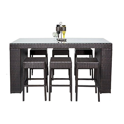 TK Classics 7 Piece Napa Bar Table Set with Backless Barstools Outdoor Wicker Patio Furniture ()
