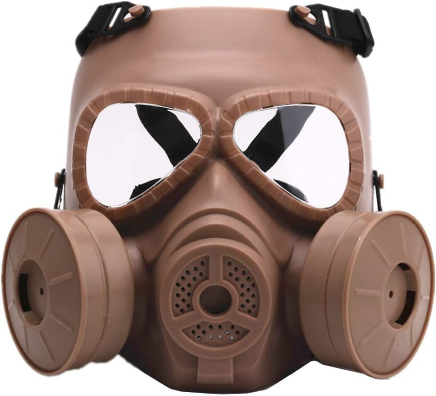 LIfav Máscara CS De Juegos, Gas Mask Guerra BB Cara del Juego Protección Seguridad Paintball Airsoft Táctico del Juego Ejército CS Guardia Tóxico,Marrón