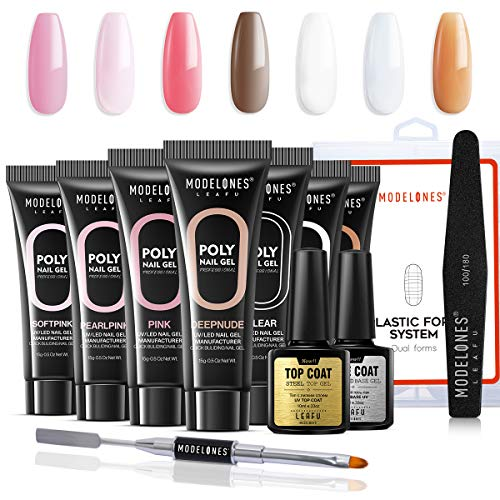 Modelones Poly Nail Gel Kit - Nail Extension Gel Kit Nail Enhancement Builder Gel Kit with 7 Luxurious Colors Quick Nail Extension Solution Gel Tube in GiftBox ()