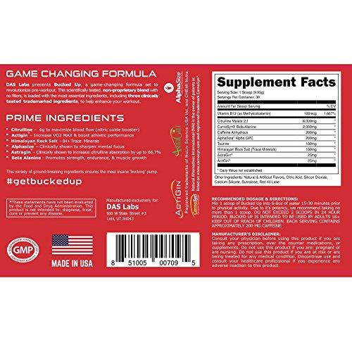 BUCKED UP Pre Workout Red Raz, 6G L-Citrulline, 3 Trademark Ingredients, Best Tasting