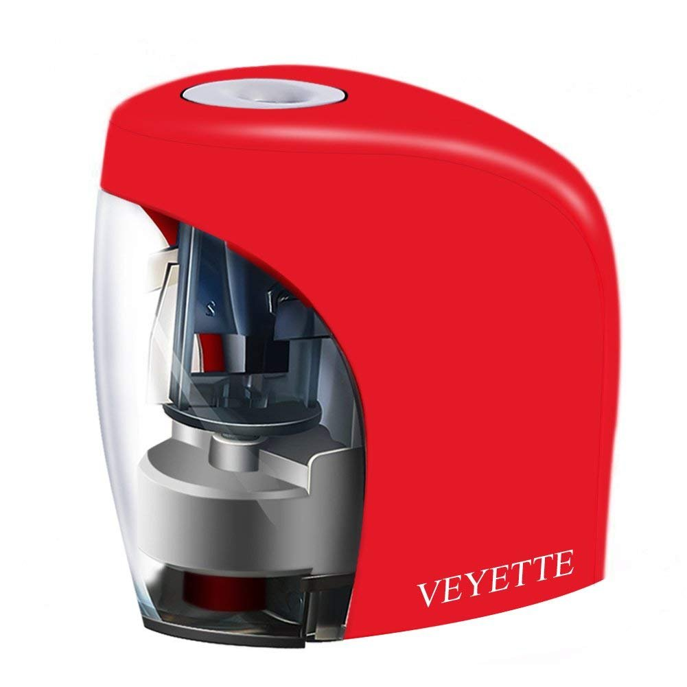 Electric Pencil Sharpener, Veyette Electrical Automatic Sharpener for NO.2 Pencils and Colored Pencils, Small Pencil Sharpener For Classroom, Home and Office, USB Plug Included, Red (1) (1) by Veyette