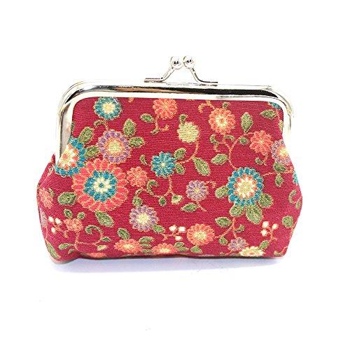 Morwind Woman Little Lady Wallet Purse Lock Bag Clutch Purse Key Holder Snacks (navy) Red