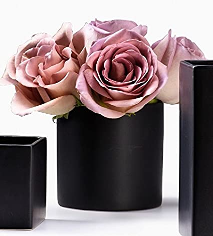 Amazon Serene Spaces Living Matte Black Ceramic Vase Cylinder