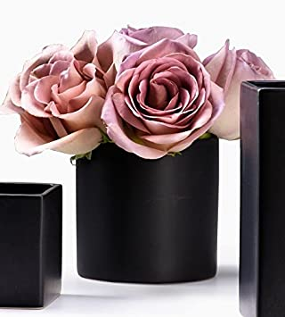 Matte Black Ceramic Vase (Cylinder) Home Design Ideas