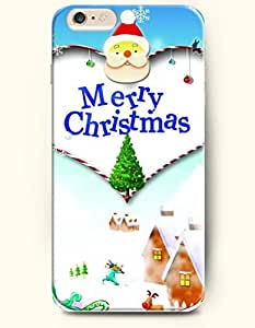 OFFIT iPhone 6 Plus Case 5.5 Inches Cute Santa Claus and Evergreen Christmas Tree-Merry Christmas
