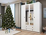 4 Door 2 Drawer Mirror Wardrobe GEORGIA Bedroom Collection (White Oak)