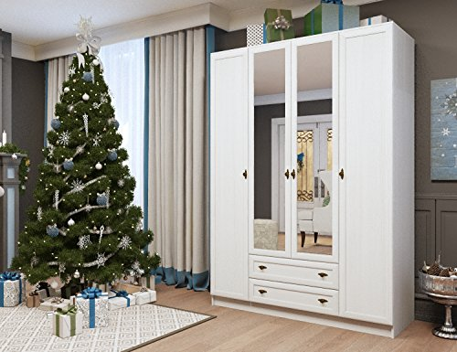 4 Door 2 Drawer Mirror Wardrobe GEORGIA Bedroom Collection (White Oak) by Ace Decore