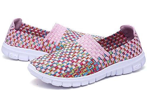 Plaid Slip Sneakers - Konfor Women Multicolor Elasticized Fabric Casual Plaid Weave Flats Slip on Sneakers Walking Shoes (Pink US7.5)