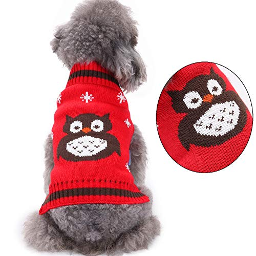 Yu-Xiang Owl Dog Sweater Pet Sweater Christmas Cat Snowflake Sweater Pet Jacket Dog Apparel