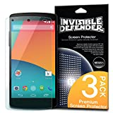 Nexus 5 Screen Protector - Invisible Defender [3 PACK/Premium HD Clarity Film] Lifetime Warranty Perfect Touch Precision High Definition (HD) Clarity Film for Google Nexus 5 (NOT for New Nexus 5X 2015)