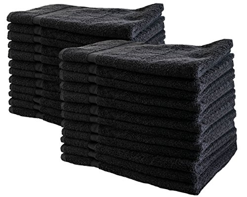 Cotton & Calm Exquisitely Soft Touch Hand Towels (24 Pack, 16 x 27 inches), Black - Crafted for Home, Bath, Spa, Salon, Gym, Restaurant by Cotton & Calm
