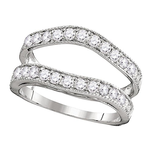 Jewels By Lux 14kt White Gold Womens Round Diamond Ring Guard Wrap Solitaire Enhancer 1.00 Cttw Ring Size 5.5
