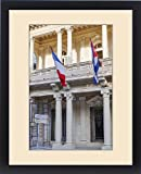 Framed Print of West Indies, Cuba, Havana. French and Cuban flags fly from building