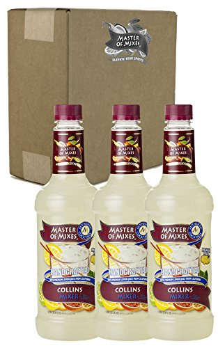 Master of Mixes Collins Drink Mix, Ready to Use, 1 Liter Bottle (33.8 Fl Oz), Pack of 3