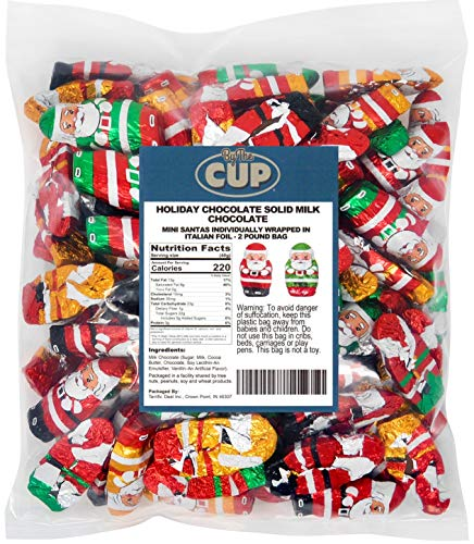 By The Cup Solid Milk Chocolate Santas 2 Pound Gourmet Chocolate Christmas Candy