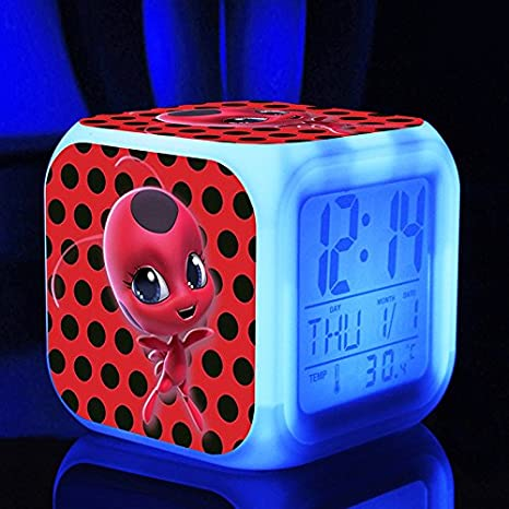 Adrien Agreste Marinette Miraculous Superhero Ladybug Cartoon Action Figure Digital Alarm with 7 Changing Glowing LED Desktop Clock for Kids and Friends Style 1