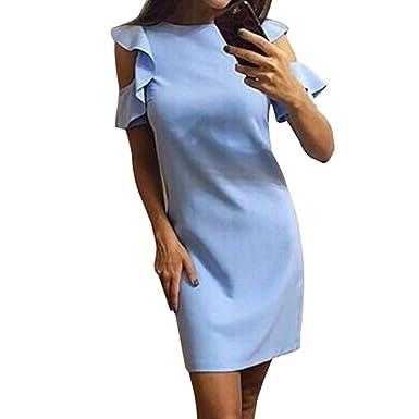 1a2e3508c7e0 Youthny Femme Manche Courte Robe Elégante Couleur Unie Casual Été et  Printemps Robes  Amazon.fr  Vêtements et accessoires