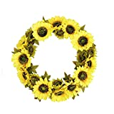 FAVOWREATH Vitality Series FAVO-W39 Handmade 20 inch Yellow Sunflowers Dry Branch Wreath For Spring/Summer/Fall Festival Celebration Front Door/Wall/Fireplace Floral Craft Home Hanger Decor