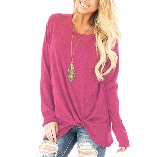 YOUCOO Rose Red Tees for Women Summer Loose Tshirt Solid Basic Twist Front Casual T Shirts