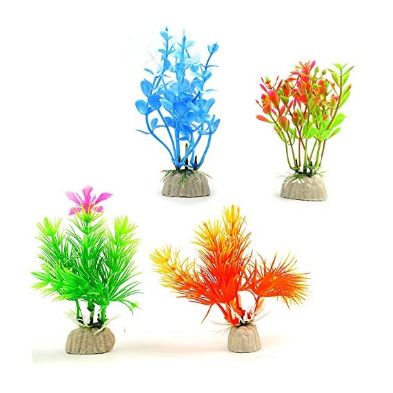 Small Size 4 to 4.5 inch Approximate Height Comsun Fish Tank Decorations Home D/écor Plastic Assorted Color 10 Pack Artificial Aquarium Plants