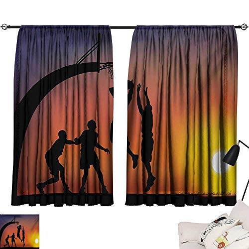 Davishouse Teen Room Decor Curtains Boys Playing Basketball at Sunset Horizon Sky with Dramatic Scenery Home Garden Bedroom Outdoor Indoor Wall Decorations from Davishouse