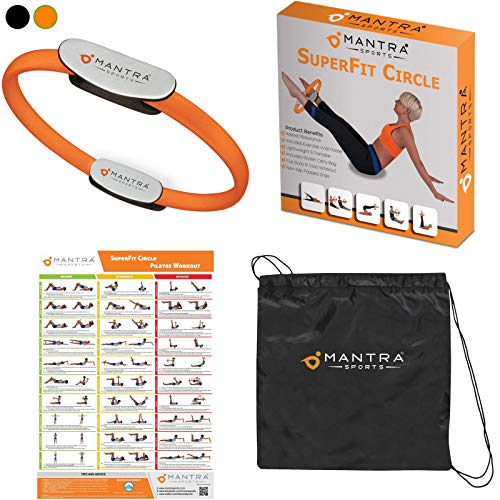 Mantra Sports Pilates Ring Magic Fitness Circle - Exercise Resistance Equipment for Toning & Sculpting Inner & Outer Thighs-Improve Core Power Strength, Flexibility & Posture-Workout Poster & Bag (Best Leg Sculpting Workout)