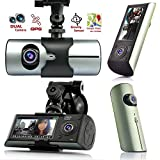 Indigi® GPS Tracker Dash-Cam Dual Camera Driving Recorder Front+Rear Support Google Map