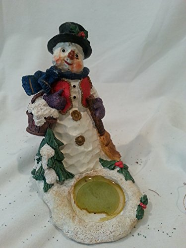 Winter Snowman with Bucket of Snow and Broom Resin Figurine, Snowman Resin Candle Holder, Christmas Candle Holder, Winter Candle Holder