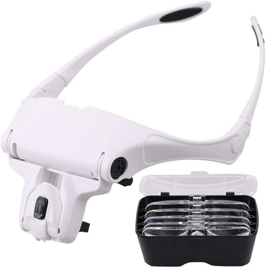 EUROXANTY®- Lupa Gafas con 2 luz LED Lupas Gran Aumento Perfecto para Leer, Extensiones de Pestañas, Reparación de Joyería, Gafas Lupa Visera, 5 Lentes Intercambiable 1X,1.5X,2X,2.5X,3X,3.5X