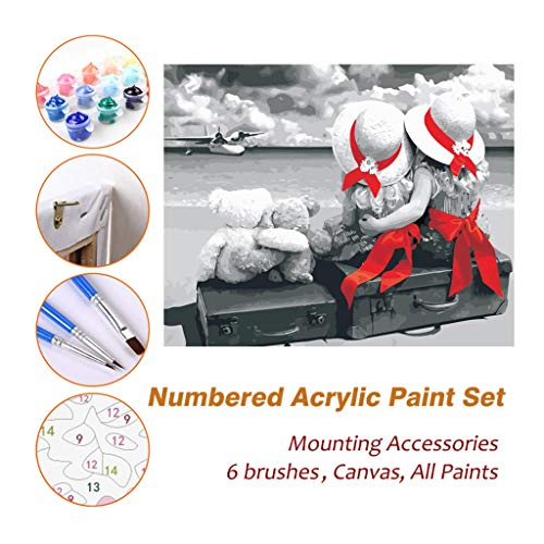 Paint by Numbers Kits for Kids Adults Beginner Teens Pine Framed, Girls On Luggage DIY Oil Acrylic Painting Paint Wall Art Picture Photography Brush Sets 611