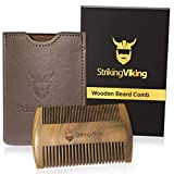 Wooden Beard Comb, w/Premium Case & Gift Box - Anti-Static Wood Pocket Comb with Fine & Coarse Teeth for Beard Hair and Mustache - Striking Viking, Brown Case