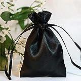 Efavormart 60PCS Black Satin Gift Bag Drawstring Pouch Wedding Favors Bridal Shower Candy Jewelry Bags - 3'x4'