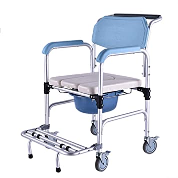 Chair Ducha WC Asiento Acolchado Silla con Ruedas,Aseo De La Casa Inodoro Balanceo Silla