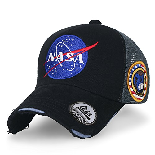 ililily NASA Meatball Logo Embroidery Baseball Cap Apollo 1 Patch Trucker Hat, Black