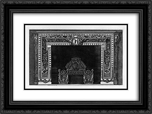 Giovanni Battista Piranesi 2x Matted 24x18 Black Ornate Framed Art Print 'Fireplace with a cameo in the frieze and border of small acorns, rich wing' by ArtDirect