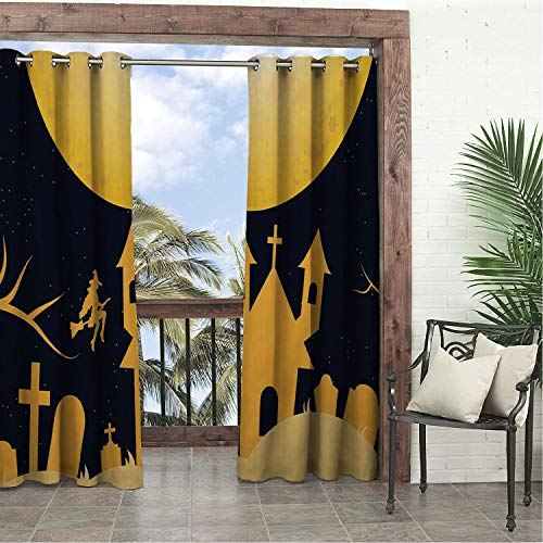 Garden Waterproof Curtains Yellow Halloween Castle Silhouette pergola Grommets Print Curtains 120 by 108 -