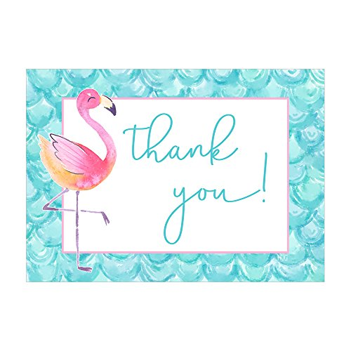 Set of 12 Thank You Notes and Envelopes with Tropical Flamingo in Pink and Aqua Blue CTY019