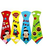 PRETYZOOM Divertido Corbata Manualidades para Papá Manualidades Kit de Costura Diy Corbata Kits de Costura para Niños Regalo de Cumpleaños para Padres Principiantes 4 Juegos (Color Aleatorio)