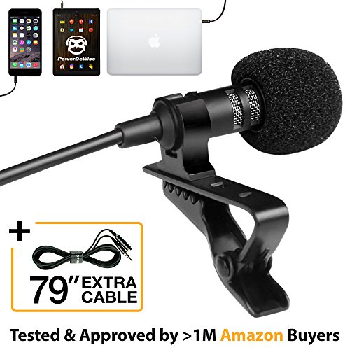 Professional Grade Lavalier Lapel Microphone ­ Omnidirectional Mic with Easy Clip On System ­ Perfect for Recording Youtube/Interview/Video Conference/Podcast/Voice - Microphone Ipad
