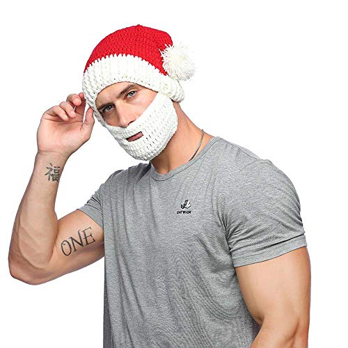 Xinqiao Knitted Santa Beard Hat Men/Women's Funny Wig Beanie Facemask Headgear (White Beard) ()
