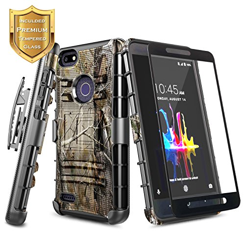 NageBee [Heavy Duty] Armor Shock Proof [Belt Clip] Holster [Kickstand] Combo Case with [Full Coverage Tempered Glass Screen Protector] for ZTE Blade X Z965 (Cricket) -Camo