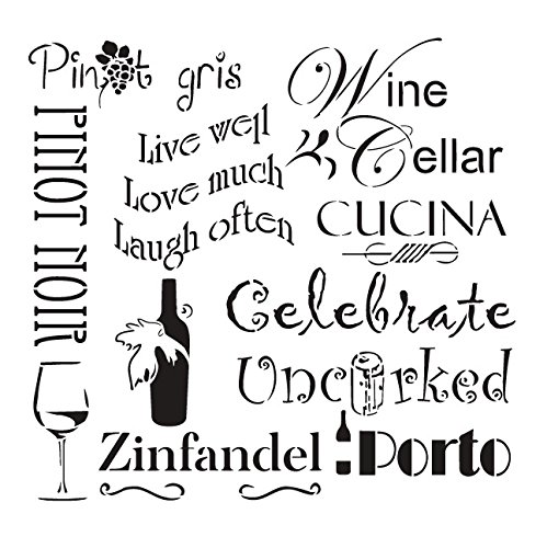 Celebrate Wine Stencil by StudioR12 | Background Tuscan Word Art - Reusable Mylar Template | Painting, Chalk, Mixed Media | Use for Wall Art, DIY Home Decor - STCL 696 SELECT SIZE (9