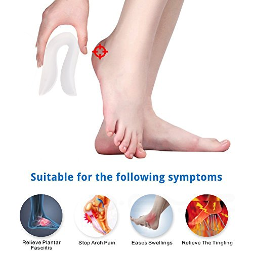 XEMZ Soft U-Shaped Plantar Fasciitis Inserts, 3D Silicone Gel Heel Cup, Bone Spur Pain Relief Backfoot Pads, Heel Seats Shock Absorption Orthotic Insole, for Metatarsal Pain Callus Corns Blisters