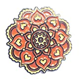 Indian Floral Mandala Orange and Beige Flower with Hearts - Lapel Pin